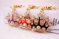 Wholesale rhinestone crown keychain for sale - Group buy lovely alloy rhinestone crown keychain wedding and baby baptism shower door giveaway gifts souvenirs wen5826