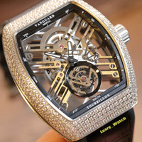 Wholesale best watch diamonds mens resale online - Best version NEW SARATOGE V T SQT BR NR Skeleton Dial Miyota Automatic vph Mens Watch Silver Diamond Case Leather Luxry Watches