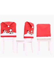 Wholesale happy beach resale online - Merry Christmas Car Chair Cover Decor Nonwoven Santa Hat Chair Cover Xmas Dinner Table Decor Happy New Year EWC2777