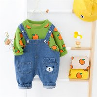 Wholesale denim suit for baby resale online - 2020 New Children s Clothing Fruit Pattern Denim Bib Suit Baby Boy Suit Spring And Autumn Jeans Suitable For Age Year bbyWvK homebag