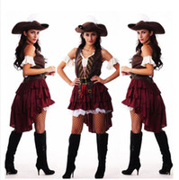 Wholesale pirate hats for sale - Group buy sexy halloween captain jack sparrow costume cosplay pirate costumes for women female adult dress hat