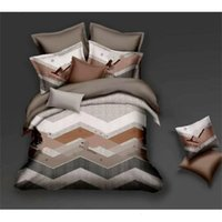 Wholesale european fashion bedding for sale - Group buy 2020 NEW European home bedding set soft and comfortable fashion printing letter Mocha cotton sheets four sets of sets GG04889