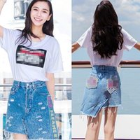 Wholesale denim suit for baby for sale - Group buy 7LUT8 Summer new Yang Ying baby same white denim letter skirtprinting skirtt shirt T shirt skirt for irregular denim skirt suit hole women Ag