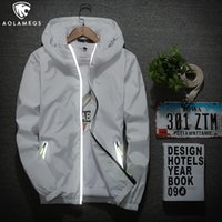 Wholesale casual riding jackets resale online - Aolamegs Reflective Jacket Men s Zipper Clothing Women Casual Outdoor Baseball Hooded Outwear Youth Riding Windbreaker S XL