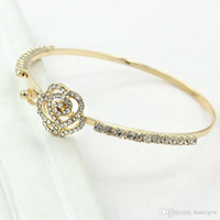 Wholesale indian rose pendant for sale - Group buy Charm Bracelets Blanks Charming Rose Gold Rhinestone Fox Pendant Opening Cuff Bracelets Bangles