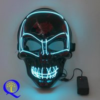 Wholesale green face mask costume for sale - Group buy LED Light Up Horror Mask Halloween Glow Skull Mask Full Face Halloween Super Scary Party Masks Festival Cosplay Costume Supplies VT0899