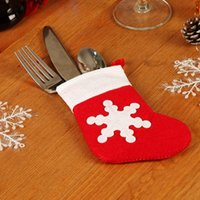 Wholesale small christmas socks for sale - Group buy Non woven Christmas Tableware Holder Bag Christmas Dining Table Decoration Knife Fork Bag Cute Snowflake Small Socks Cutlery Cover VT1817