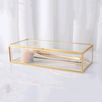 Wholesale makeup desks for sale - Group buy Jewelry Boxes Simple Gilt Glass Gift Box Collection Boxes Retro Jewelry Display Decoration Boxes Makeup Desk Finishing Storage Box DHA1863