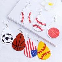Wholesale girls soccer gifts resale online - Leather Earrings Baseball Football Soccer Tennis Earrings Sports Teardrop Drop Earrings Pendant Jewelry Gift YFA2658