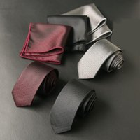 Wholesale handkerchief necktie for sale - Group buy Sitonjwly Classic Solid Black Neck Ties for Mens Business Neckties Handkerchief Set Wedding Gentlemen Pocket Square Tie Set