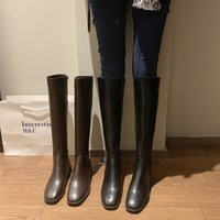 Wholesale riding boots high heels for sale - Group buy women boots2020 New Winter Leather Women Knee High Boots Motorcycle Square Toe Zip Footwear Low Heels Female Riding Boot Woman Long Boots