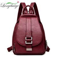 Wholesale retro school backpacks resale online - 2019 Designer Backpacks Women Leather Backpacks Female School Bag for Teenager Girls Travel Back Bag Retro Bagpack Sac a Dos C1008