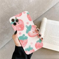 Wholesale soft case strawberry for sale – best Summer Pink Strawberry for IPhoneX Xs promax Phone Case for Apple plus XR Soft P Female SE