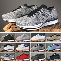 carrera de mosca al por mayor-Nike Air Zoom Mariah Flyknit Racer Best race 2020 Zooms Mariah Fly Racer 2 Women Men Athletic, all black red green Sneakers knitting Zooms Racer Sneaker Trainers Size 36-45