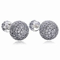 Wholesale natural diamond stud resale online - Real Sterling Silver Natural Crystal ball Earrings fit Pandora style Silver Jewelry for Women Diamond disco Beads Stud Earring