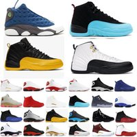 Wholesale jordan 12 for sale - Group buy New s Stone Blue University Gold Dark Concord Reverse Flu Game OVO Men casual Shoes Nakeskin Jordan Playoff French Blue Sneak T6J3