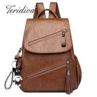 Wholesale retro vintage backpack resale online - Vintage Tassels Backpack New Women Retro PU Leather Rucksack Big Capacity School Bag For Teenager Girl Travel BolsasX0923