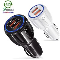 Wholesale usb car charger gps for sale - Group buy QC3 fast Dual usb Ports Car Charger A Chargers For Samsung Galaxy s8 S10 htc Android phone gps pc