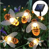 Discount honeys bees 5M Solar Lights String 20 Led Honey Bee Shape Solar Powered Fairy Lights For Outdoor Home Garden Fence Summer Decoration 201203