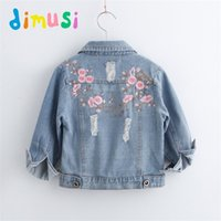 Wholesale girls jackets embroidered for sale - Group buy DIMUSI Denim for Girls Baby Flower Embroidered Coats Spring Autumn Fashion Child Kids Outwear Ripped Jeans Jackets C1012