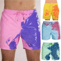 Discount men s board shorts Color-changing Beach Shorts Men Quick Dry Swimwear Beach Pants Warm Color Discoloration Shorts Swimming Surfing Board