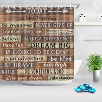 Wholesale farmhouse bathroom for sale - Group buy Rustic Wood Board Shower Curtain Retro Wooden Plank Funny Motivational Quotes Waterproof Bathroom Curtain Farmhouse Decoration