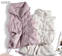 LUZUZI Autumn Winter Women's Vest Coat Sleeveless Jacket 90% White Duck Down Women Warm Vest Chaleco Mujer Gilet Casaco Feminino