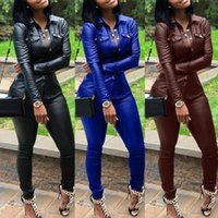 Wholesale sexy sets leather for sale - Group buy 5 color S XXXL Winter Overalls PU Leather shirt Pencil pant tracksuit fashion sexy women set two pieces Jumpsuit casual Outfits