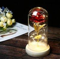 Wholesale cover crafts resale online - Immortal Simulation Rose Gold Foil Flower Led Lamp Glass Cover Ornament Craft Christmas Decoration Valentine s Day Gift Party Favor LJJP661