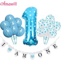 Wholesale baby showers decorations resale online - Amawill st Birthday Balloons I Am One Banner Blue Pink Baby Year Old Anniverssary Party Supplies Baby Shower Decorations d sqccHf