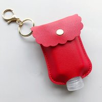Wholesale pendent sets for sale - Group buy 60ML Hand Sanitizer Bottle with PU Leather Holder Cover Sleeve Bag Set Protable Travel Bottles Keychains Key Chain Pendent KKF1870