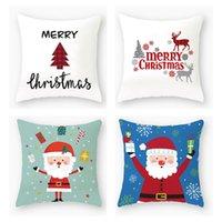Wholesale christmas pillow cases resale online - 40 Designs Pillow Case Santa Claus Christmas Tree Snowman Elk Pillow Case Colorful Pillow Cover Home Sofa Car Decor Pillowcase FWA2002