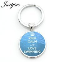 Wholesale sports quotes resale online - Jweijiao Keep Calm and Love Swimming Keychain Summer Sports Quotes Key Chain Ring Holder Club Custom Gifts for Men Women Sp388