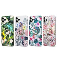 Wholesale imd phone case for sale – best Retro Flower Ring Phone Case For iphone Mini Pro X XR XS Max Plus Soft IMD Leaf Cover