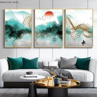 Wholesale wall art painting canvas chinese resale online - Abstract Ink Landscape Scenery Poster Simplicity Print New Chinese Wall Art Picture Canvas Painting Modern Home Decoration