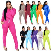 Wholesale purple pieces for sale - Group buy Autumn And Winter Women Tracksuit Clothing Fall Fashion Casual Sports Foot Zipper Set Casual Two Piece Outfits