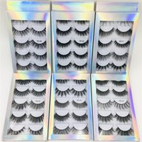 Wholesale best natural false lashes for sale - Group buy New Hot selling best price Pair Natural Thick synthetic Eye Lashes Makeup Handmade Fake Cross False Eyelashes with Holographic Box