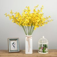 artificial orchids single flowers 2021 - Yellow Artificial Flower Plant Home Decoration Plastic Bouquet Single Orchid Yellow Branch Flower Festive & Party Supplies1