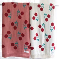 Wholesale boys quilt covers resale online - 86X104cm layers cotton knitted cherry pattern soft girl Baby Blanket kids back seat cover bed quilt cover girl summer blanket