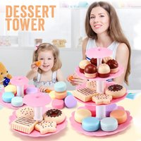 Wholesale toys cake for children for sale - Group buy Kids Kitchen Afternoon Tea Toy Set for Girls Dessert Tower Miniature Fake Food Dinette Child Toy Kitchen Play Mini Cake Biscuits LJ201009