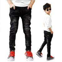 Wholesale jeans boys resale online - Boys Pants Spring Autumn Black Jeans Kids Casual Trousers Boys Jeans Teenage Trousers Children Casual Pants Y Boys Outwear