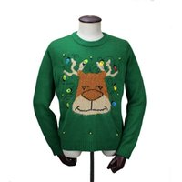 Wholesale led jumpers for sale - Group buy Sweater Men Women Unisex Knitted Pattern Led Christmas Jumper Ugly Sweaters