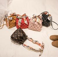Wholesale mobile bags resale online - New Printing Mini Purse Ladies Pu Mobile Phone Handbags Shoulder Bags Girl Silk Scarf Bow Single Drawstring Portable Bucket Bag