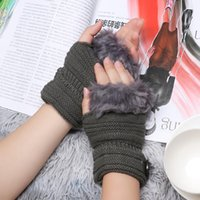 Wholesale arm warmers mittens for sale - Group buy New Winter Gloves Women Faux Fur Knitted Gloves Thick Warm Fingerless Knitting Mittens Elastic Soft Arm Warmers