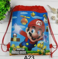 Wholesale party favors boy resale online - Super Mario Theme Baby Shower Mochila Events Party Boys Favors Backpack Birthday Decoration Blue Drawstring Gifts Bags