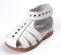 Wholesale white girl shoes pearls resale online - girls leather sandals genuine leather toddler shoes silver pink white closed toe summer shoes gladiator sandals chic unique