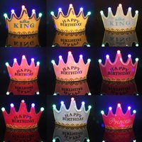 Wholesale happy birthday crown resale online - Led Crown Hat Christmas Cosplay King Princess Crown Led Happy Birthday Cap Luminous Led Christmas Hat Colorful Sparkling Headgear EWD2500
