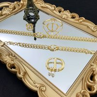 Wholesale d ring leather resale online - D family new gold CD letter neck chain necklace female Dijia net red open Bracelet Ring Bracelet Brooch