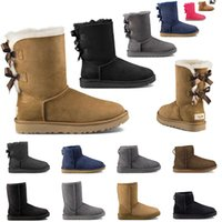 Wholesale women fashion canvas flats resale online - new women snow boots fashion winter boot classic mini ankle short ladies girls womens booties shoes triple black chestnut navy blue