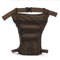 Wholesale canvas drop leg fanny pack resale online - Mens Waterproof Canvas Waist Drop Leg Bag Fanny Pack Thigh Hip Bum Belt Motorcycle Military Tactical for Travel Riding Hiking